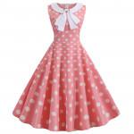 Платье розовое в белый горох MN67-1