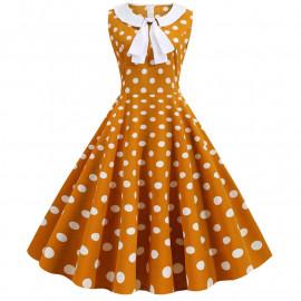 Коричневое платье в белый горошек MN67-3