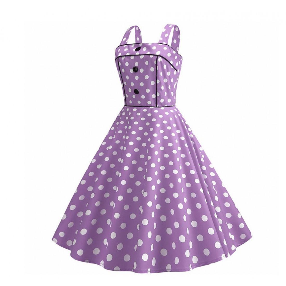 Сиреневое Платье В Горошек