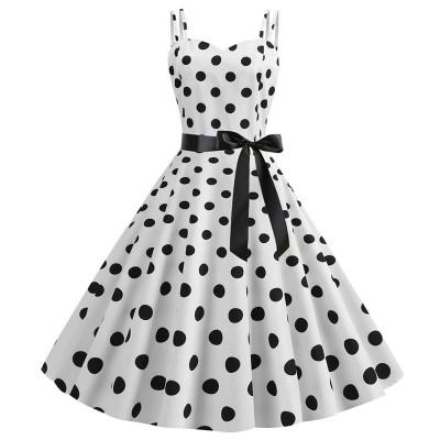 Белое гороховое платье MN64, размер 42 - 50