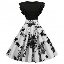 Платье ретро с рюшами на рукавах MN63