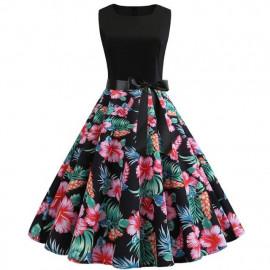 Черное платье с цветочным принтом MN61-23