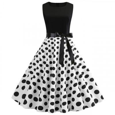 Платье в горошек в стиле Стиляги MN61-24, размер 42 - 50