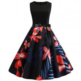 Платье летнее черное с цветами MN61-25
