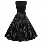 Черное платье в мелкий горох MN61-1
