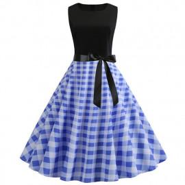 Платье с синей юбкой в клетку MN61-6