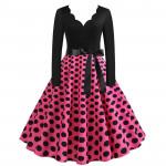 Платье с розовой юбкой в черный горошек MN009-23