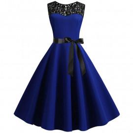 Винтажное синее платье с кружевом MN38