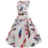 Белое летнее платье в цветочек MN57-12, размер 42 - 50