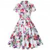 Винтажное платье с цветочным принтом MN56-6, цвет белый, размер 42 - 54