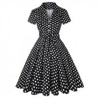 Черное платье с рукавами в горох MN56-9