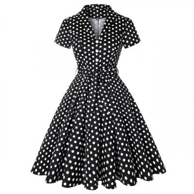 Черное платье с рукавами в горох MN56-9, размер 42 - 54