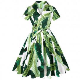 Платье с отложным воротником в стиле ретро MN56-10