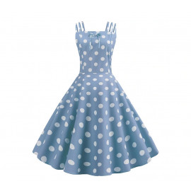 Голубое платье в белый горох MN187-1