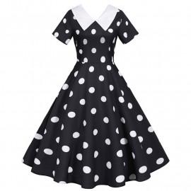 Черное платье в белый горошек MN173-3