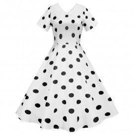 Белое платье в черный горошек MN173-2
