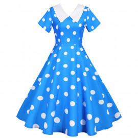 Синее платье в белый горошек MN173-1