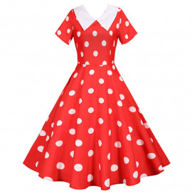 Красное платье в белый горошек MN173