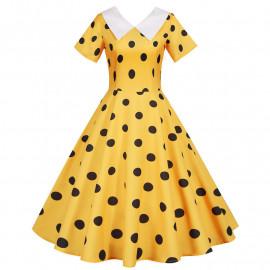 Желтое платье в черный горошек MN173-5