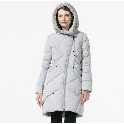 Зимнее женское пальто KD086-2, цвет светло-серый