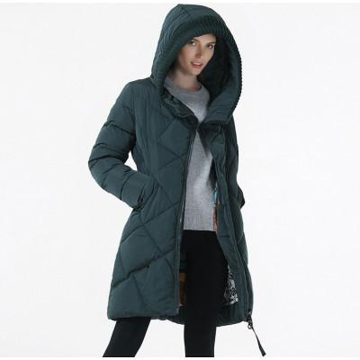 Зимнее женское пальто KD086-4, цвет темно-зеленый