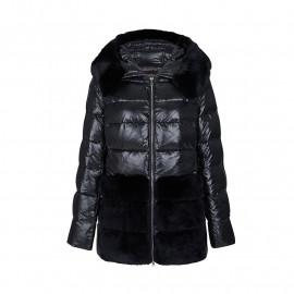 Женская зимняя куртка с мехом черная KD074-1