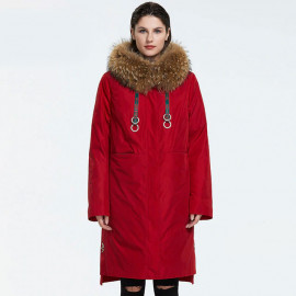 Зимнее женское пальто с мехом KD073