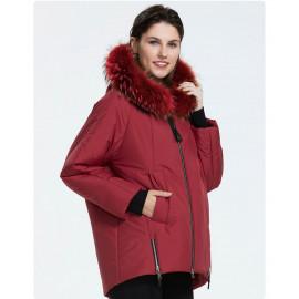 Красная куртка с мехом женская KD072-1