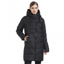 Черная куртка женская зимняя KD069