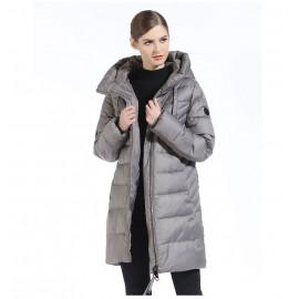 Серая зимняя куртка женская KD069-2