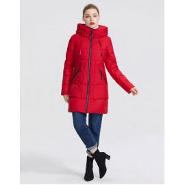 Красная зимняя куртка женская KD057