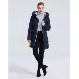 Темно-синяя зимняя куртка женская KD057-2