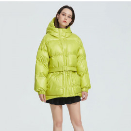 Желтая куртка женская зимняя KD052