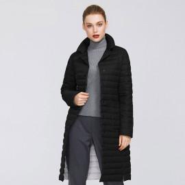 Черное пальто женское прямое KD043