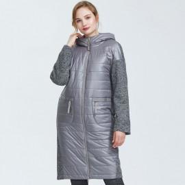 Осеннее пальто для полных женщин KD040