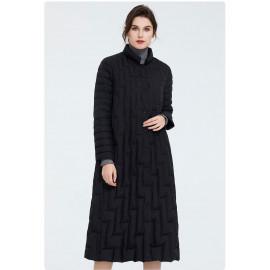 Черное длинное пальто женское KD039-2