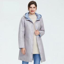 Удлиненная куртка женская демисезонная большого размера KD041