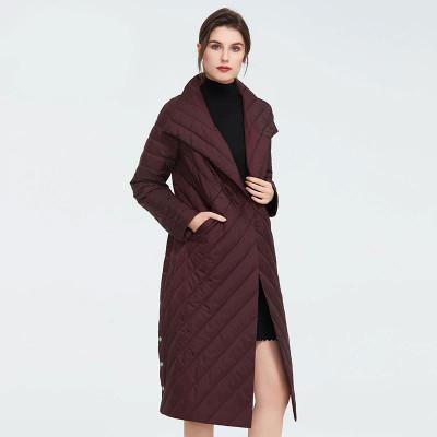 Стеганое пальто на весну женское KD035-2, цвет бордовый