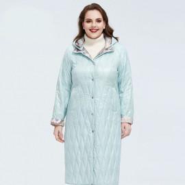Длинное пальто для полных женщин KD028-1
