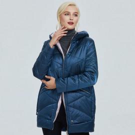 Куртка женская демисезонная больших размеров с капюшоном KD027-1