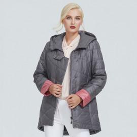 Осенняя куртка удлиненная женская большие размеры KD026