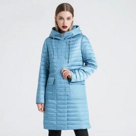 Осеннее пальто с капюшоном женское KD019-3