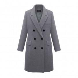 Серое двубортное пальто женское KD017-1
