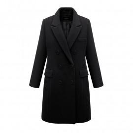 Черное двубортное пальто женское KD017