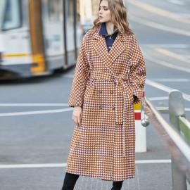 Женское шерстяное пальто в клетку KD016