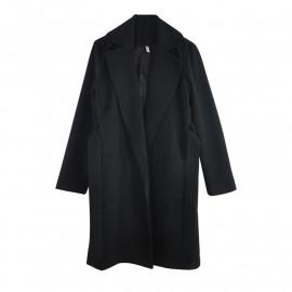 Черное пальто с поясом женское KD011-4