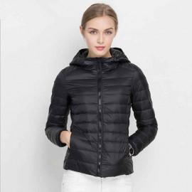 Черная стеганая куртка женская KD005