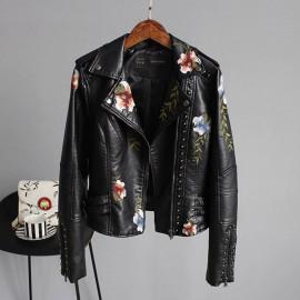 Куртка косуха женская кожаная черная KR008
