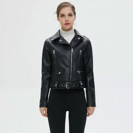 Укороченная кожаная куртка женская KR006