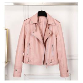 Розовая кожаная куртка косуха женская KR005-1